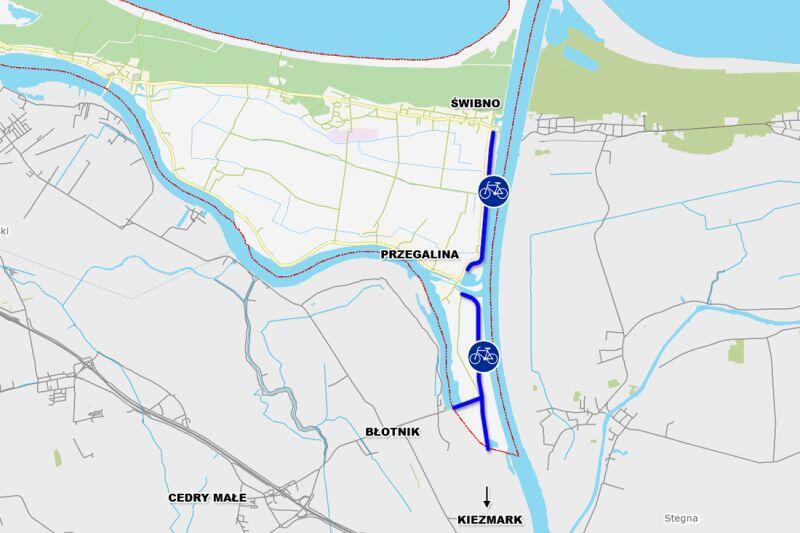 Przebieg budowanej drogi dla rowerów na Wyspie Sobieszewskiej. Krótka przerwa na południe od Przegaliny związana jejst z tym, że jest tam już droga rowerowa