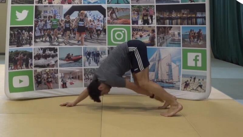 Łukasz Marszałkowski podczas ćwiczenia