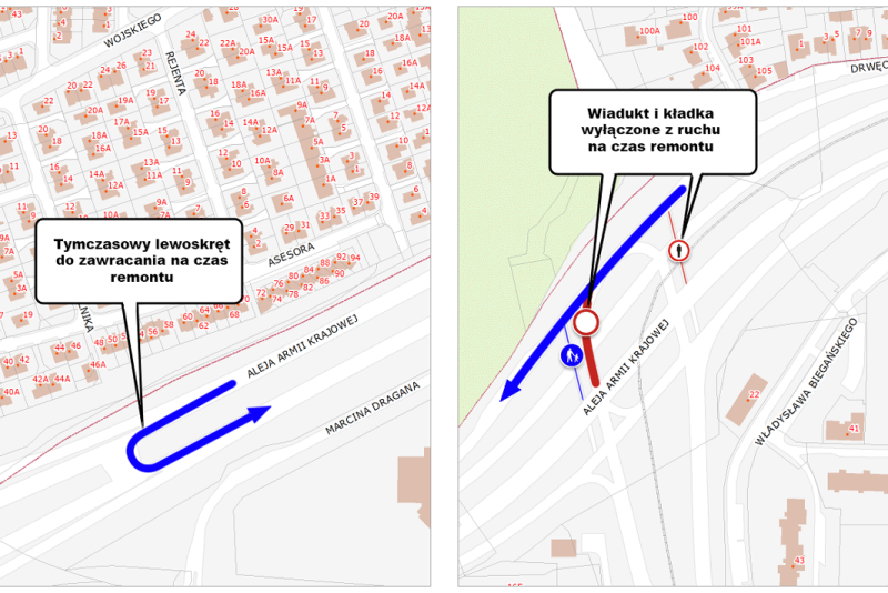 Mapka przedstawia zakres zmian w ruchu drogowym. Po prawej stronie na czerwono zaznaczono wiadukt samochodowy prowadzący w ul. Sikorskiego i kładkę dla pieszych. Kładka już od kilkunastu dni jest niedostępna dla użytkowników, wiadukt - będzie niedostępny od poniedziałku. Po lewej widzimy zaznaczony na niebiesko przebieg tymczasowej drogi, po której samochody zawracać będą do ul. Sikorskiego