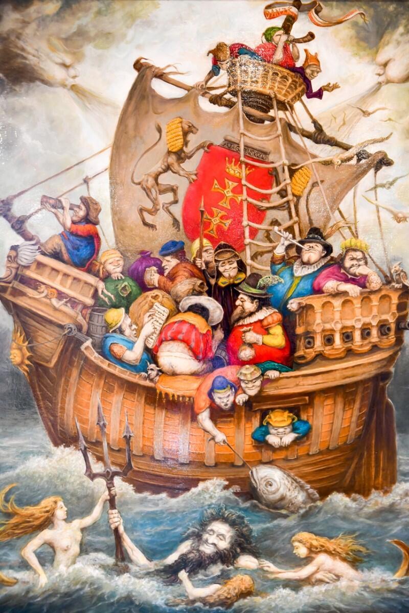 Obraz, statek koga na pokładzie którego znajduje się wiele osób