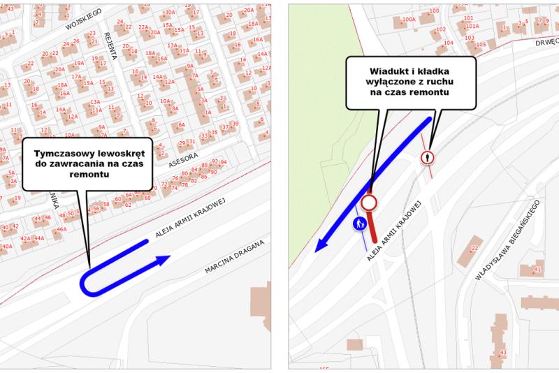 Mapka przedstawia zakres zmian w ruchu drogowym. Po prawej stronie na czerwono zaznaczono wiadukt samochodowy prowadzący w al. Sikorskiego i kładkę dla pieszych. Kładka już od kilkunastu dni jest niedostępna dla użytkowników, wiadukt - będzie niedostępny od poniedziałku. Po lewej widzimy zaznaczony na niebiesko przebieg tymczasowej drogi, po której samochody zawracać będą do ul. Sikorskiego
