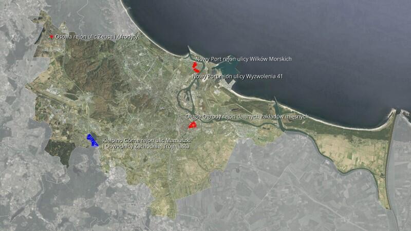 Mapka w beżowo-zielonej tonacji kolorystycznej przedstawia obszar Miasta Gdańska. Na tej mapce zaznaczono cztery punkciki oznaczające obszary, dla których przegłosowano nowe plany miejscowe zagospodarowania przestrzennego i jeden punkcik niebieski oznaczający rozpoczęcie procedury przygotowania takiego planu