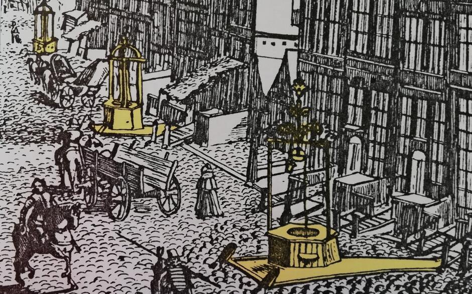 Rząpia na ulicy Długiej na rysunku Idziego Dickmanna z 1617 roku, detal. Wyglądają jak studnie, ale woda w nich zgromadzona nie pochodzi z głębi gruntu, lecz doprowadzana jest podziemnym wodociągiem