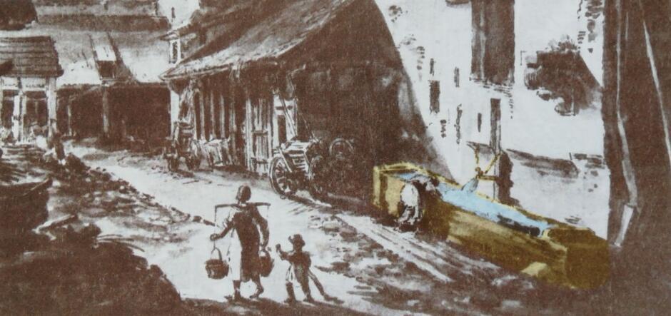 Widok murów miejskich Gdańska na akwareli Zygmunta Vogla z rzygaczem wodociągu wyrzucającym wodę do wielkiego koryta, lata 1788-1790, detal