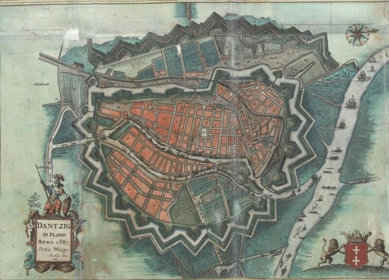 Mapa Gdańska z 1687 roku
