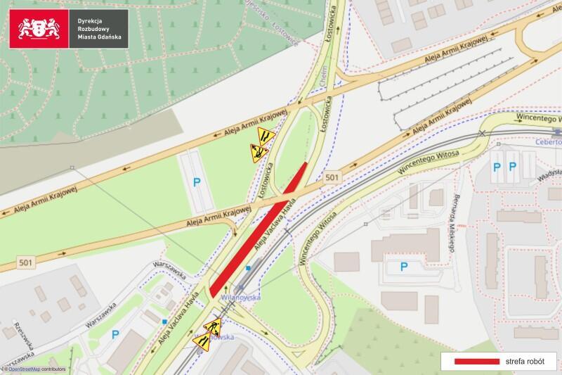 Czerwony pas oznacza miejsce, w którym prowadzone są prace drogowe. Duży obszar zaznaczony na zielono w lewej górnej części mapki, to teren Cmentarza Łostowickiego