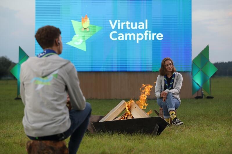 Virtual Campfire, czyli transmisję ogniska z Wyspie Sobieszewskiej przygotowano w dniu, w którym rozpocząć się miało Europejskie Jamboree - lipiec 2020 r.