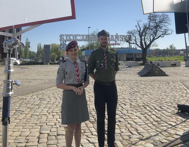 W filmie opowiadającym o kandydaturze ZHP i Gdańska do organizacji Światowego Jamboree 2027 nie zabrakło ważnych gdańskich akcentów (zdjęcie z planu filmowego)