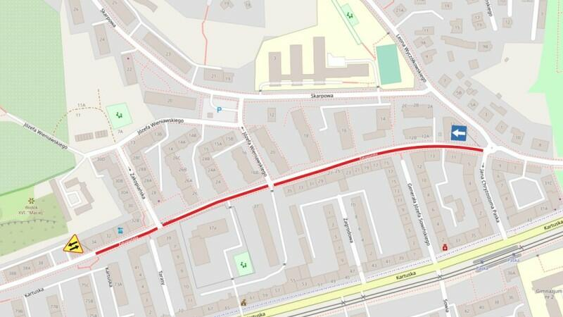 Ulica Zakopiańska ma charakter dzielnicowy i jest równoległa do ul. Kartuskiej (żółta linia w dolnej części mapki) jednej z głównych arterii drogowych w tej części miasta. Wprowadzenie ruchu jednokierunkowego oznacza, że kierowcy będą musieli korzystać w tej okolicy z objazdów ul. Kartuską