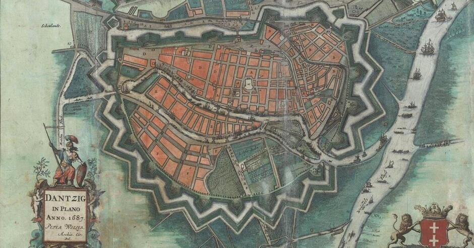 Mapa Gdańska z 1687 roku ze zbiorów Biblioteki Gdańskiej PAN