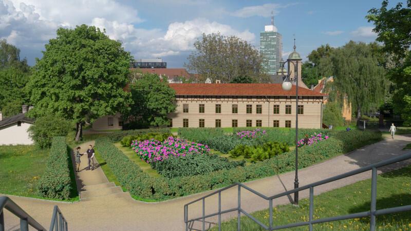 Budynek będzie też otoczony malowniczym ogrodem