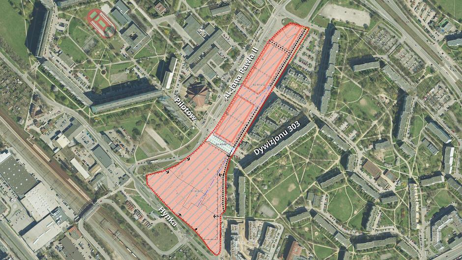 Granice pojektu planu nr 0625 Dyskusja publiczna Zaspa-Młyniec - południowa część dawnego pasa startowego przy al. Jana Pawła II