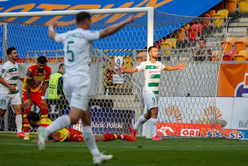 Łukasz Zwoliński po zdobyciu gola na 1:1