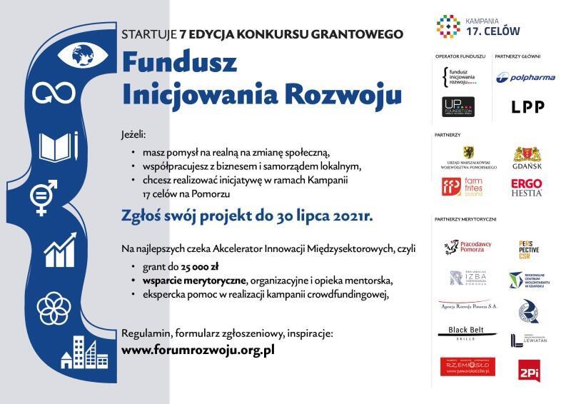 Baner przypominający, że zgłoszenia możliwe są tylko do 30 lipca, a zwycięzcy otrzymają granty do 25 tys. zł, pomoc merytoryczną i wsparcie eksperckie. Po prawej znajdują się loga kilkunastu sponsorów i patronów inicjatywy - w tym Miasta Gdańsk