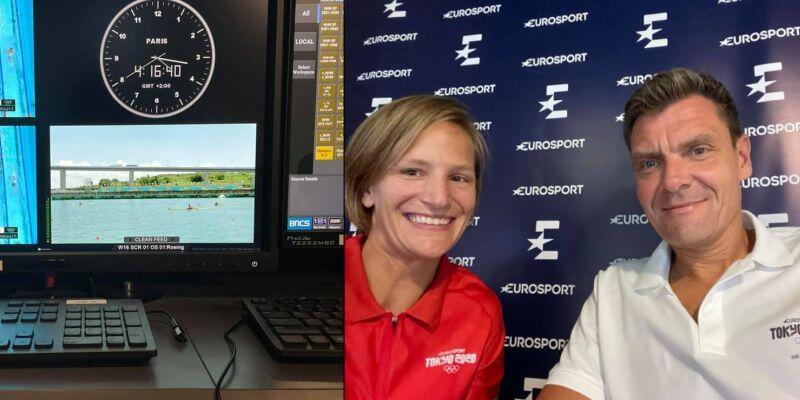 Julia Michalska-Płotkowiak i Adam Korol na stanowisku komentatorskim Eurosportu