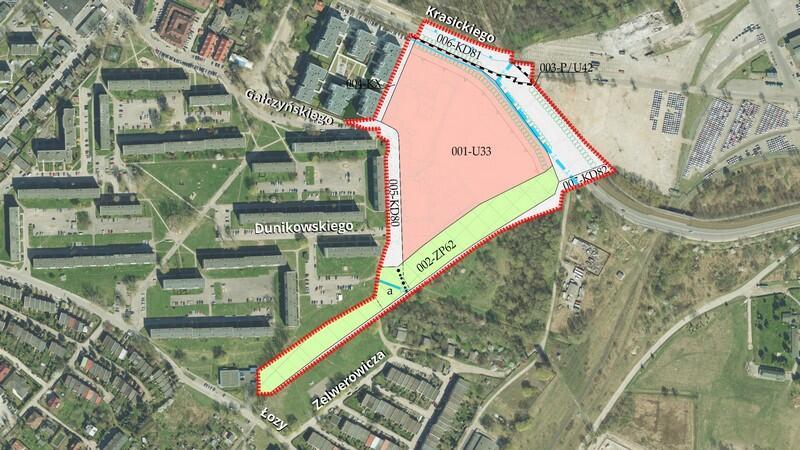 Granice projektu planu nr 0320 Brzeźno w rejonie ulic Krasickiego i Sybiraków