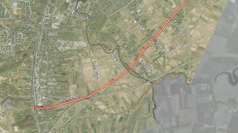 Granice projektu planu nr 1615 Dwutorowa linia elektroenergetyczna