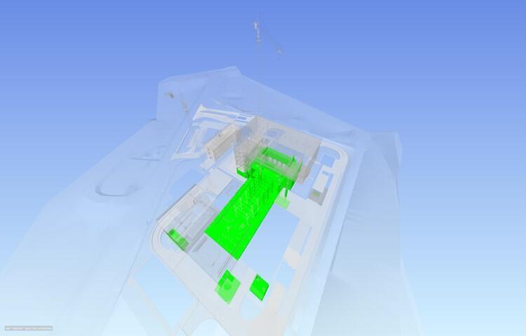 Model BIM (ang. Building Information Modeling) – na zielono zaznaczono wykonane elementy