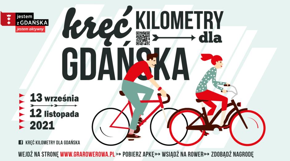 Kręć kilometry dla Gdańska plakat z grafiką i informacjami o kampanii