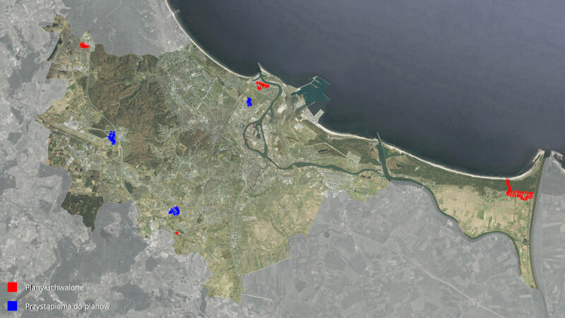 Mapka z zaznaczonymi planami miejscowymi. Na czerwono plany uchwalone, na niebiesko - przystąpienie do planów