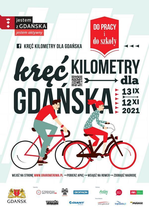 """Plakat tegorocznej edycji kampanii rowerowej """"Kręć kilometry dla Gdańska"""""""