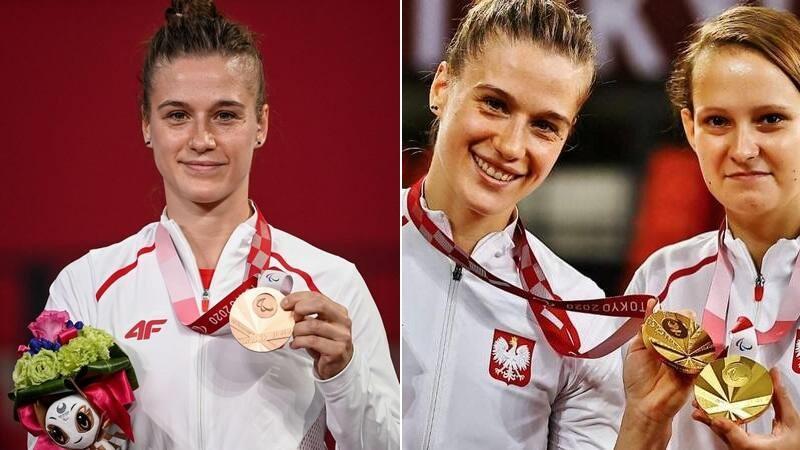 Natalia Partyka (po lewej) z brązowym medalem, po prawej ze złotym wspólnie z Karoliną Pęk