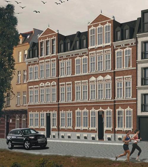 wizualizacja: czterokondygnacyjny budynek mieszkalny stylizowany na dawne czasy. Przed nim jezdnia, z lewej jedzie auto, z prawej kobieta i mężczyzna w strojach sportowych biegną