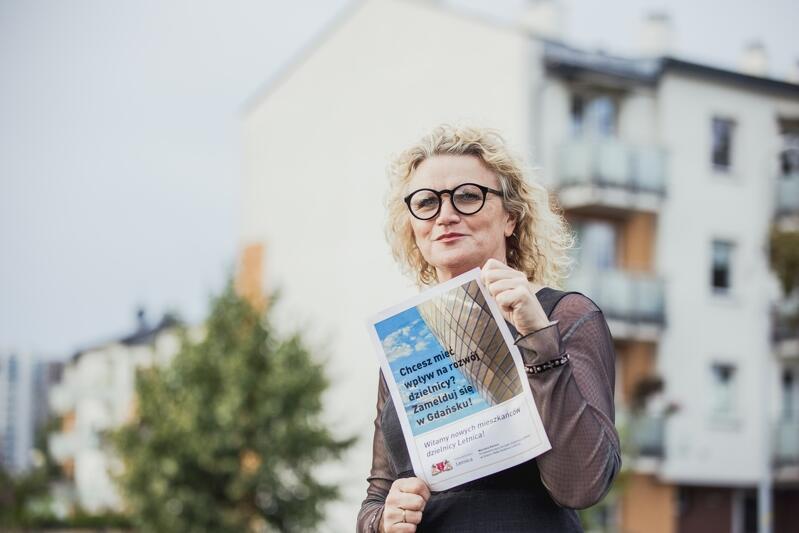 Marzena Kolmer, Przewodnicząca Zarządu Dzielnicy Letnica, zachęca do meldowania się w tej dzielnicy
