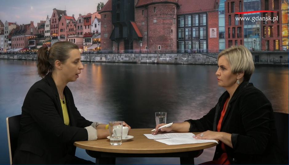 O kryzysie uchodźczym i deklaracji Gdańska o chęci pomocy rozmawiały Monika Chabior, zastępca prezydent i red. Agnieszka Michajłow