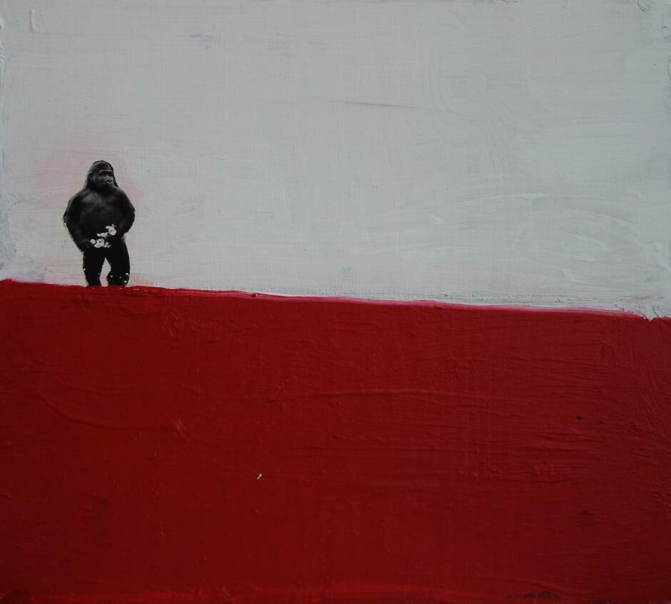 biało-czerwone tło na wzór flagi Polski, po lewej stronie wklejona postać goryla