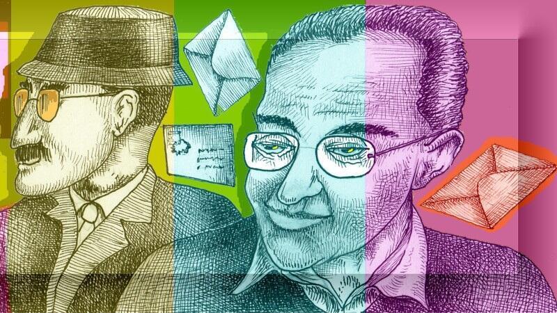 kolorowe rysunki przedstawiające dwóch mężczyzn - lema i mrożka