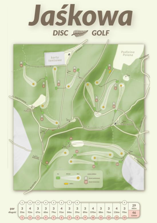 To plan pola do gry w disc golfa w Jaśkowym Lesie