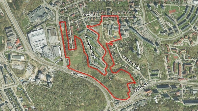 Granice projektu planu nr 1236 - Suchanino, rejon ulic Schuberta i Nowolipie