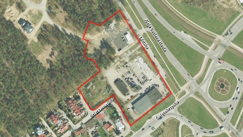 Granice projektu planu nr 1852 - Ujeścisko w rejonie ulic Łódzkiej i Orląt Lwowskich