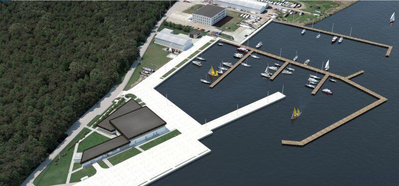 Tak docelowo będzie wyglądał port jachtowy na Górkach Zachodnich. Wizualizacja przedstawia odnowiony obiekt po realizacji dwóch zaplanowanych etapów prac