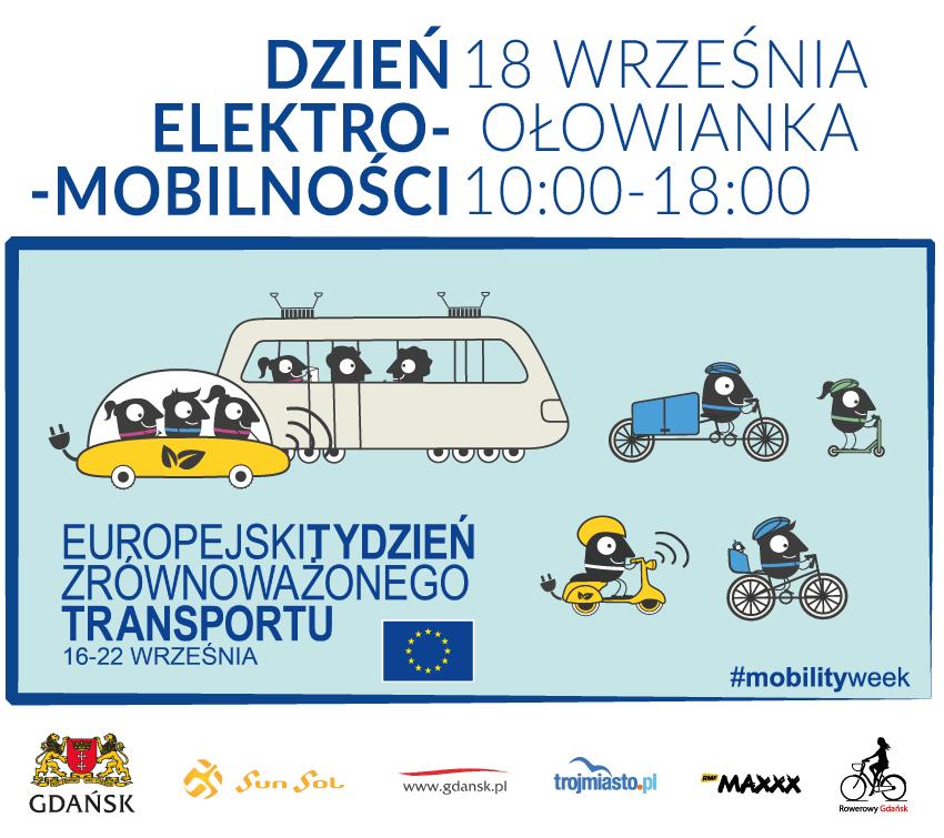Plansza informacyjna Europejski Tydzień Zrównoważonego Transportu. Dzień elektromobilności