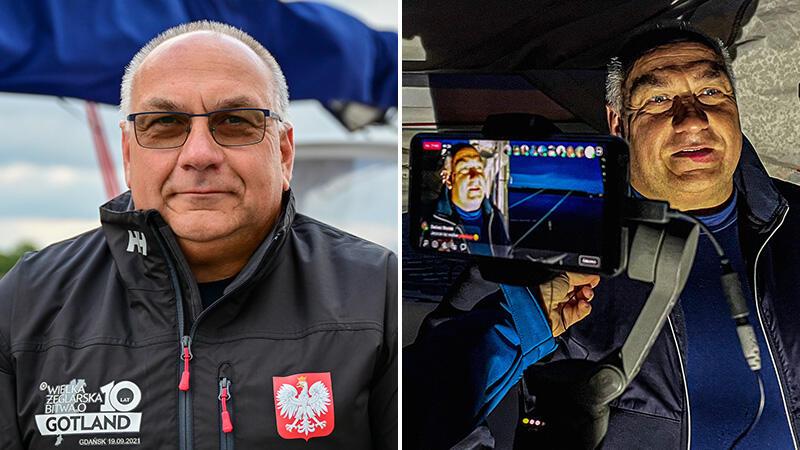 Jacek Chabowski, kapitan Blue Horizona przed startem (w miarę wyspany i tylko częściowo zmęczony przygotowaniami) i po blisko 90 godzinach samotnej żeglugi!