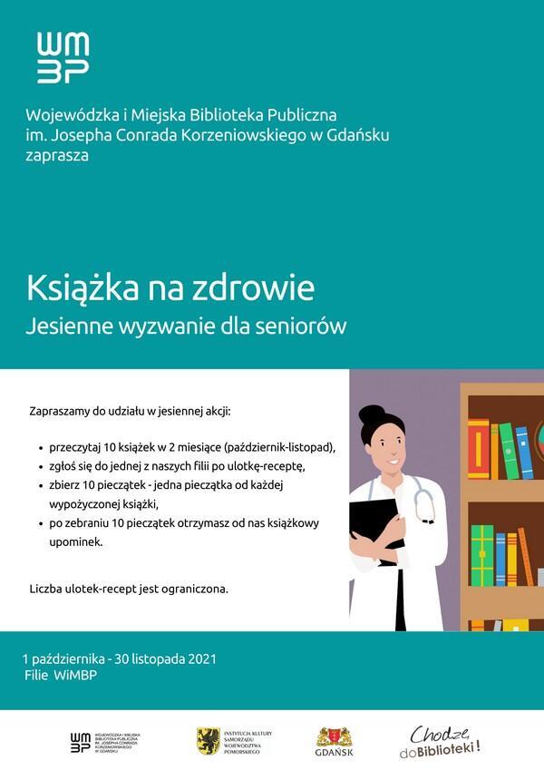 Plakat informacyjny: Książka na zdrowie. Jesienne wyzwanie dla seniorów