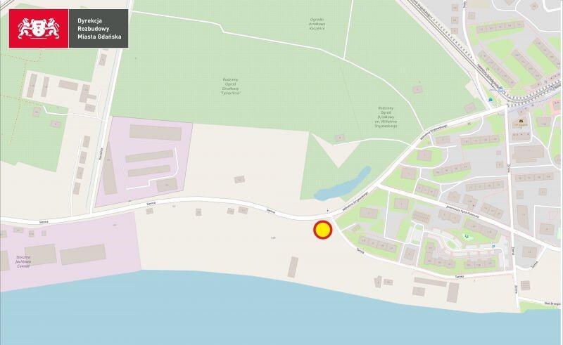 Żółtym kolorem zaznaczono lokalizację nowej przepompowni na Stogach