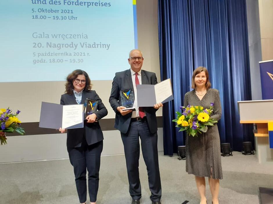 Gala Nagrody Viadriny. Nz. od lewej Aleksandra Dulkiewicz, prezydent Gdańska i Andreas Bovenschulte, burmistrz Bremy