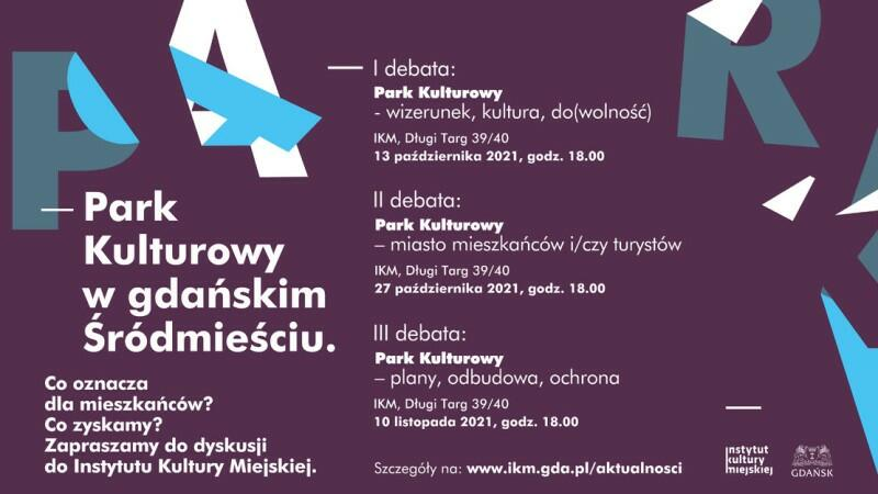 Baner jest w kolorze fioletowym, znajdujące się na nim napisy są białe i zawierają podstawowe informacje o planowanym przebiegu konsultacji. Z prawej u dołu znajdują się znaki organizatorów: Instytutu Kultury Miejskiej i Urzędu Miejskiego w Gdańsku