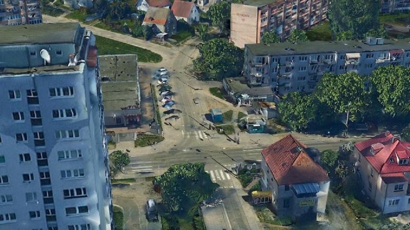 Skrzyżowanie ulic Słowackiego i Reymonta (widok z ortofotomapy z 2018 roku)