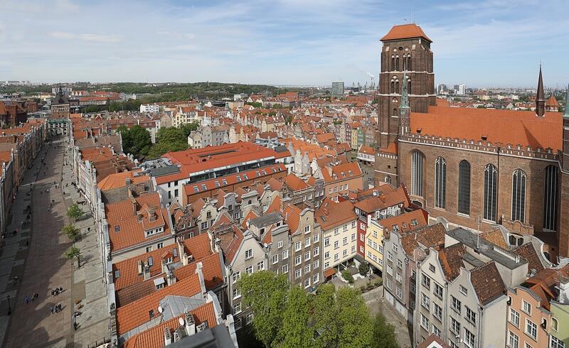 Droga Królewska w Gdańsku - ten krajobraz kulturowy zna każdy gdańszczanin (i nie tylko). Widok z wieży Ratusza Głównego Miasta