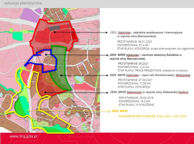 Grafika przedstawia obszary, wobec których opracowywane bądź już procedowane są miejscowe plany zagospodarowania przestrzennego