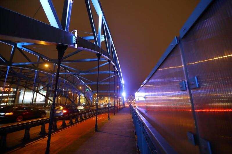 Podświetlony wiadukt na ul. Kościuszki