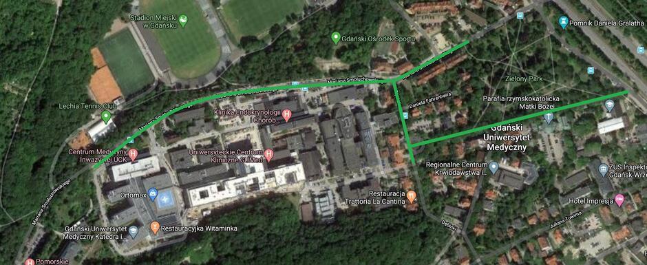 Ulice wokół Uniwersyteckiego Centrum Klinicznego, gdzie zawieszona została Strefa Płatnego Parkowania