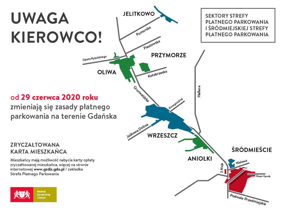 Schemat Strefy Płatnego Parkowania i Śródmiejskiej Strefy Płatnego Parkowania w Gdańsku