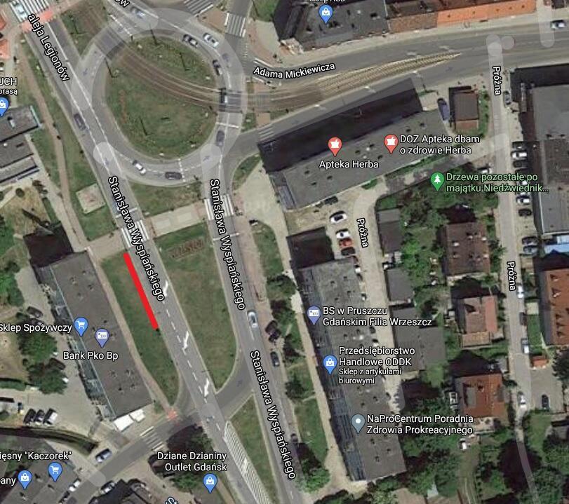 Lokalizacja nowego przystanku na ul. Wyspiańskiego