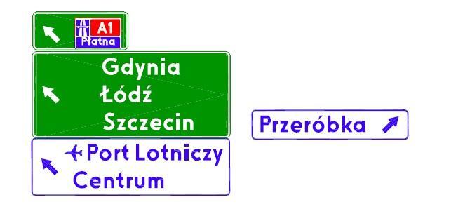 Zestaw drogowskazów, które zostaną zamontowane na bramownicy na ul. Elbląskiej