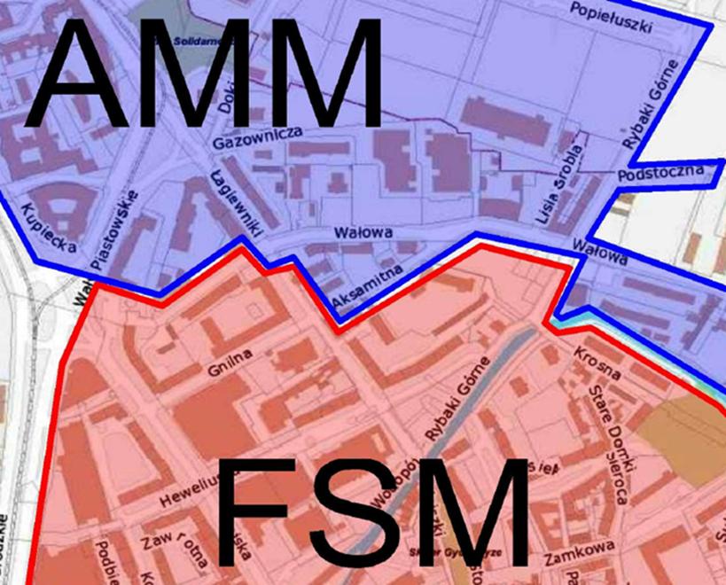 Zmiana granic sektorów Stare Miasto (FSM) i Młode Miasto (AMM) na ul. Aksamitnej